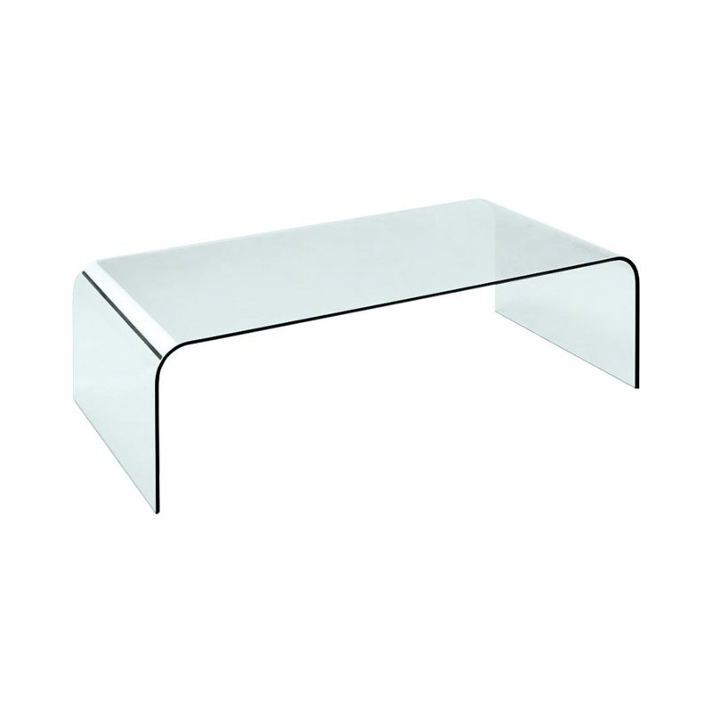 glass coffee table with curved corners