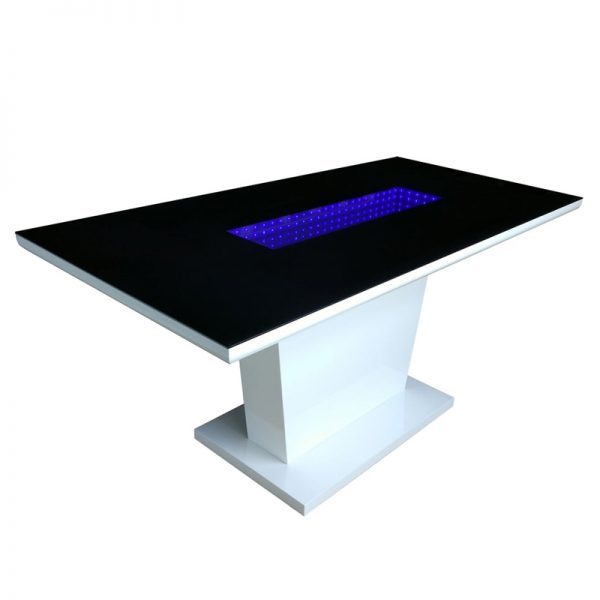 Black glass dining table with LED lights