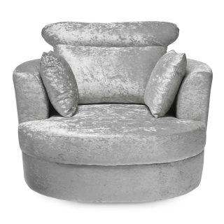 Belle Silver Crushed Velvet Swivel Chair