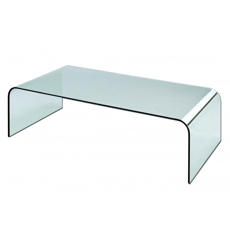 Taky Curved Glass Coffee Table: CLARITY Glass Coffee Table