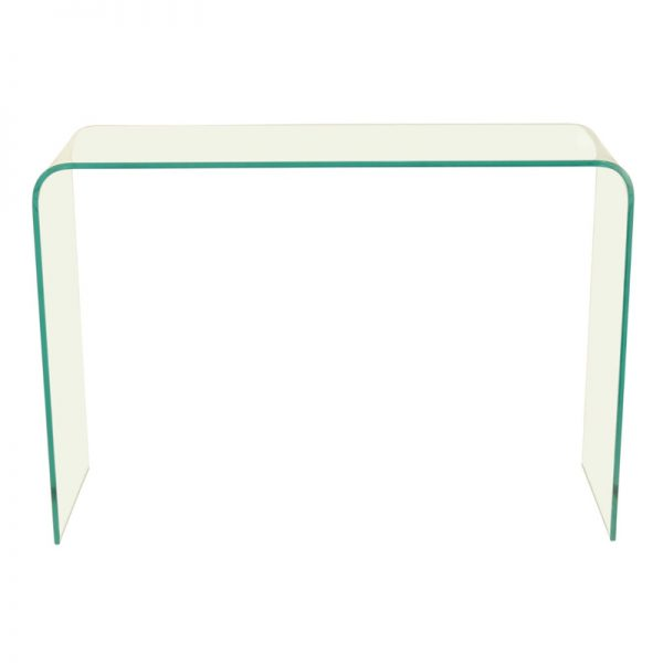 Glass console table with curved corners