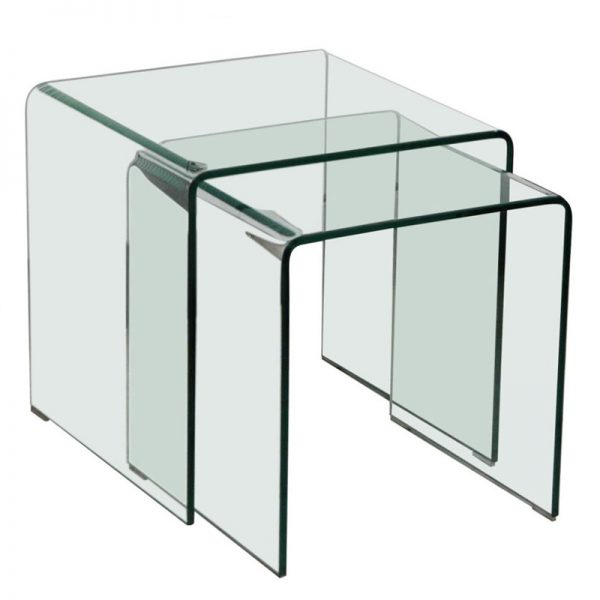 Glass nest of tables set of 2