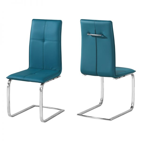 Teal dining chairs with metal legs