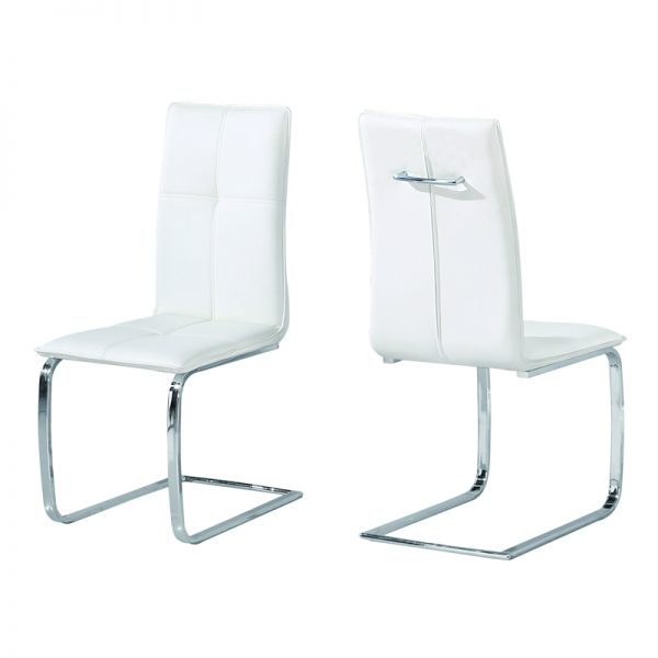 White faux leather dining chairs