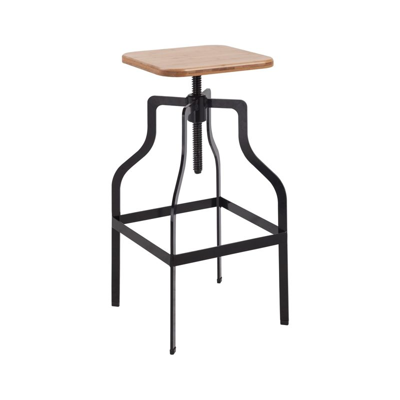 adjustable height wooden bar stool with metal legs