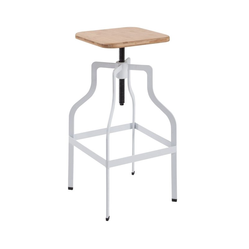 industrial style adjustable wood and metal bar stool