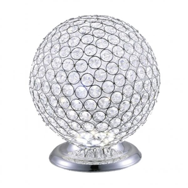 crystal table lamp, crystal lamp, round table lamp, silver table lamp, table lamp