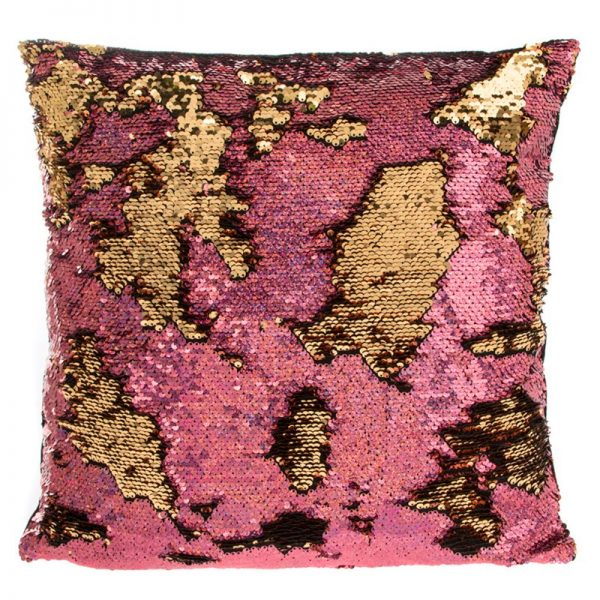 colour changing sequin pillow, gold cushion