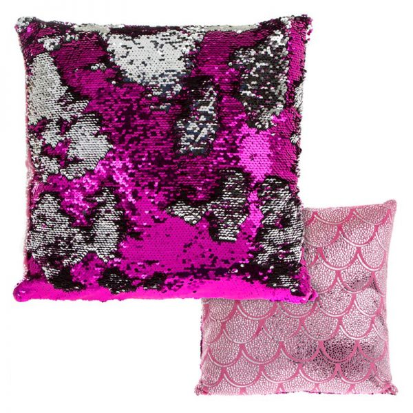 reversible sequin pillow, pink cushion