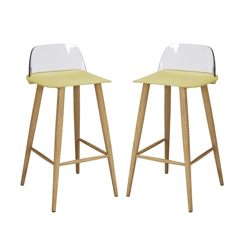 yellow green plastic bar stools with oak effect legs