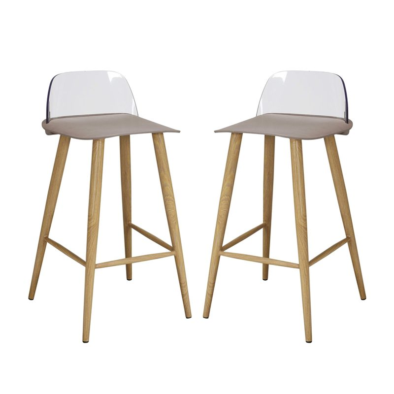 plastic and oak effect bar stools in stone colour
