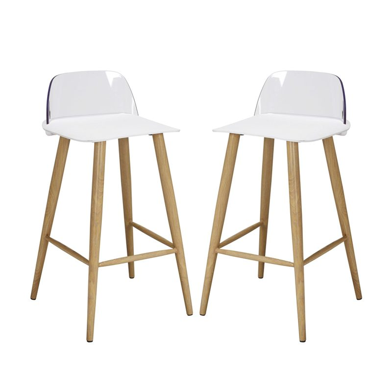 pair of oak effect bar stools with white seat