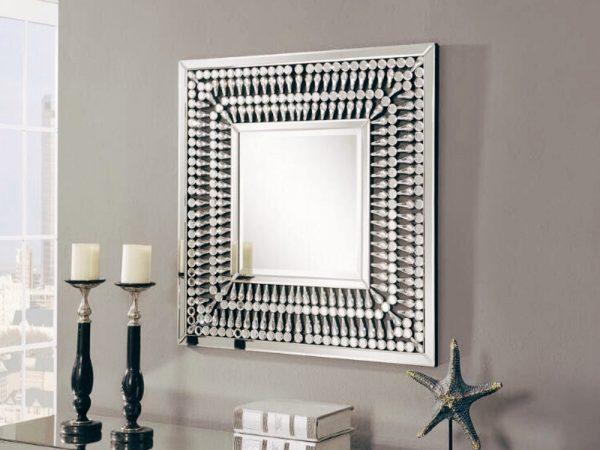crystal square mirror, square mirrors, crystal mirrors, wall mirrors