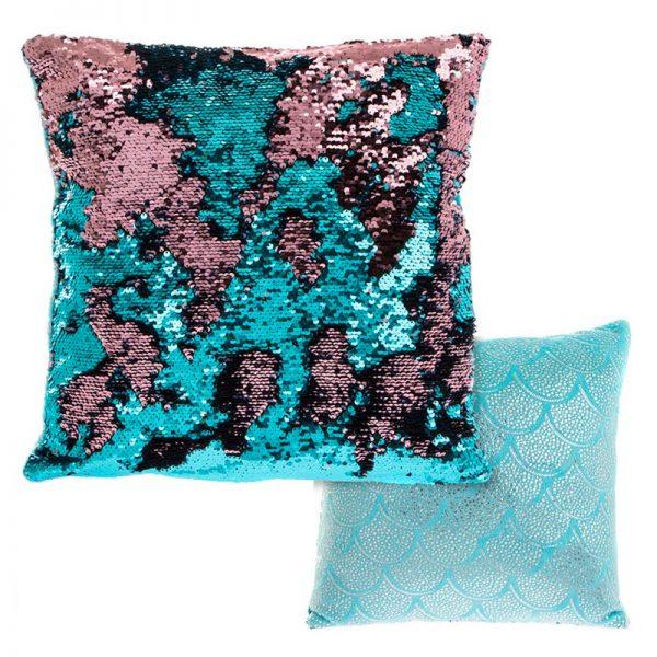 sequin mermaid pillows, teal cushion