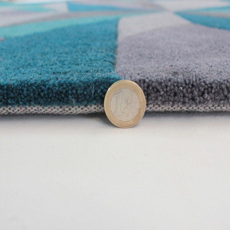 Teal modern rug thick pile