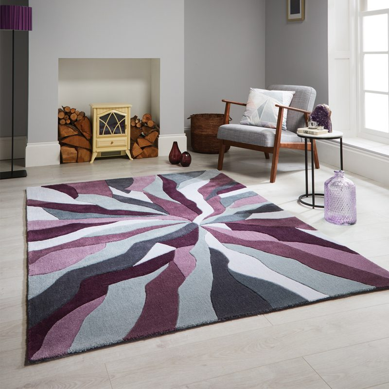 Purple living room rug with shatter design
