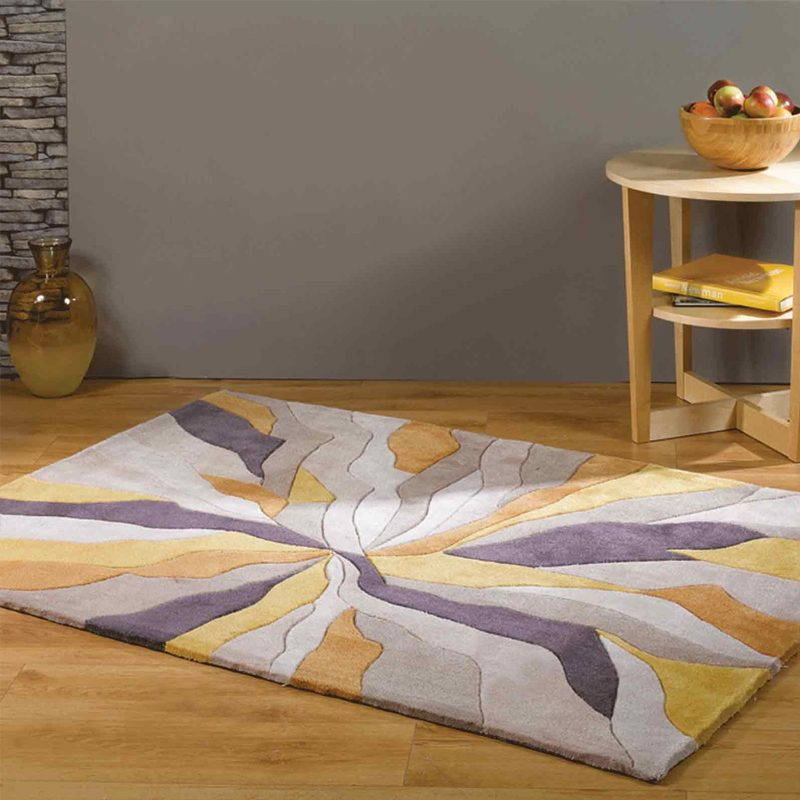 Yellow living room rug with abstract pattern