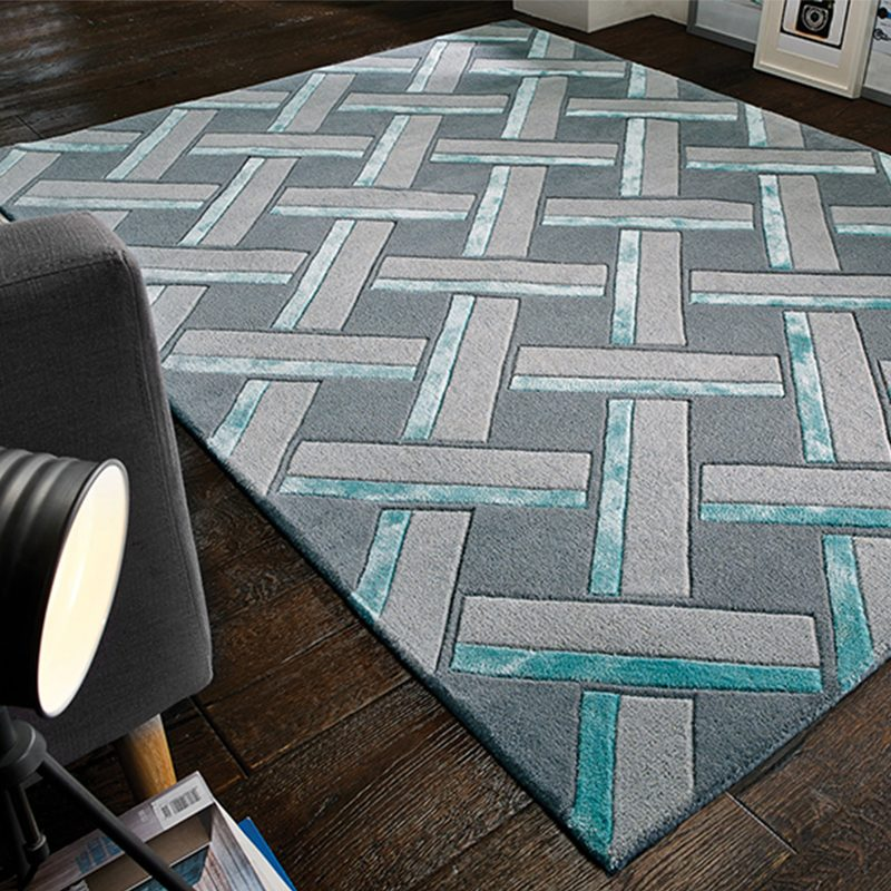 Grey geometric rug with parquet pattern