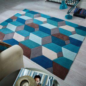 Blue geometric rug