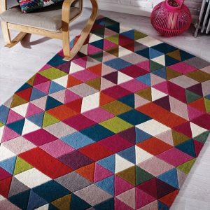 Pink multi coloured rug