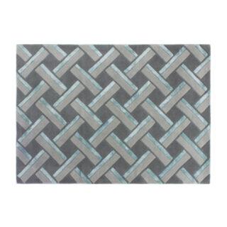 Hatch Parquet Pattern Rug Grey/Teal 120 x 170