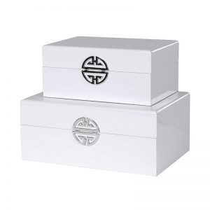White gloss storage boxes with silver design