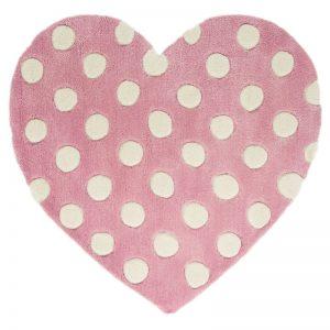 Pink heart rug with polka dots