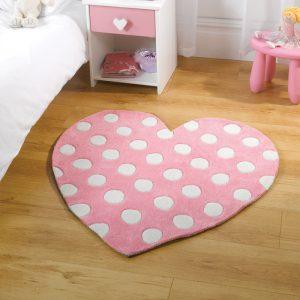 Pink heart rug for children's bedroom