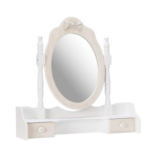 Jeanette Wooden Dressing Table Mirror with Drawers
