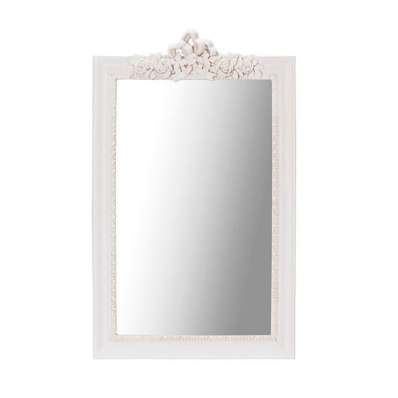 cream ornate framed wall mirror
