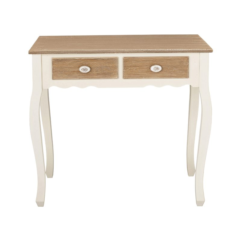 cream and wood two drawer console table