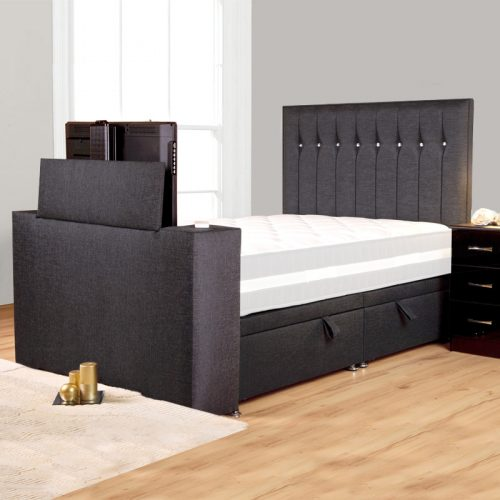 Black fabric bed with TV in foot