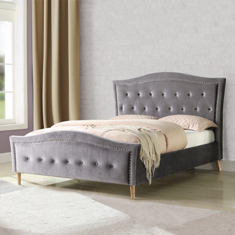 Grey velvet upholstered bed frame