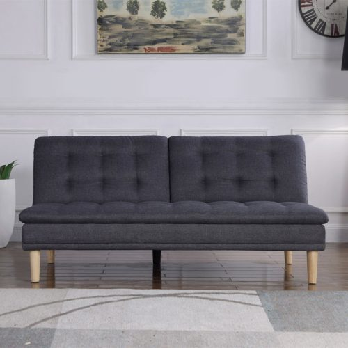 Dark grey fabric sofa bed with wooden feet in white living room