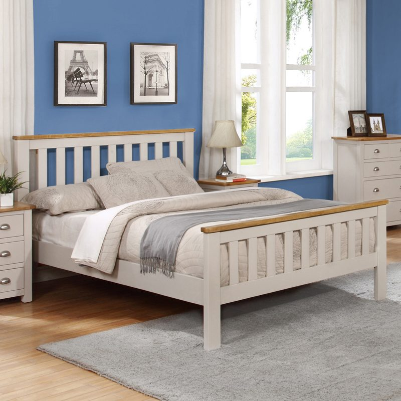 Grey painted wooden bed frame