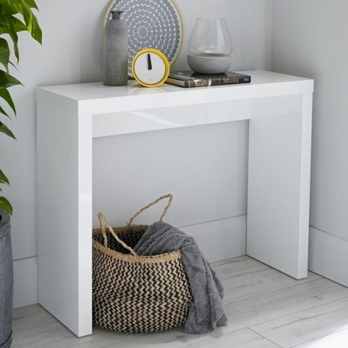 White high gloss console table in contemporary hallway