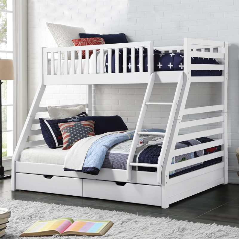 White wooden twin over full bunk bed