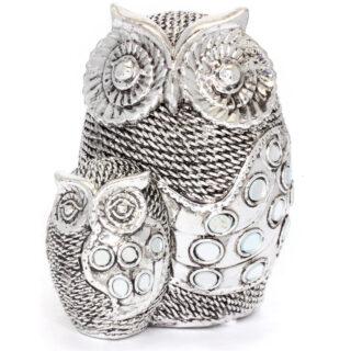 Silver Owls Figurine