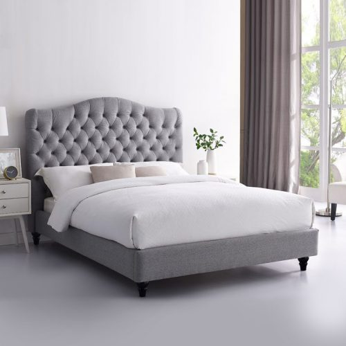 Grey fabric upholstered beds in contemporary bedroom