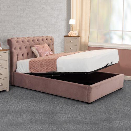 Pink velvet ottoman storage bed