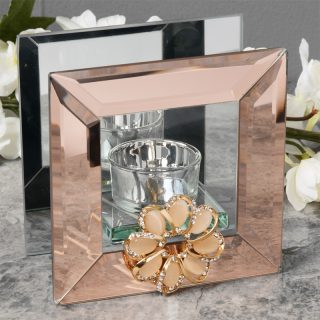 Copper Mirror Glass Tealight Holder