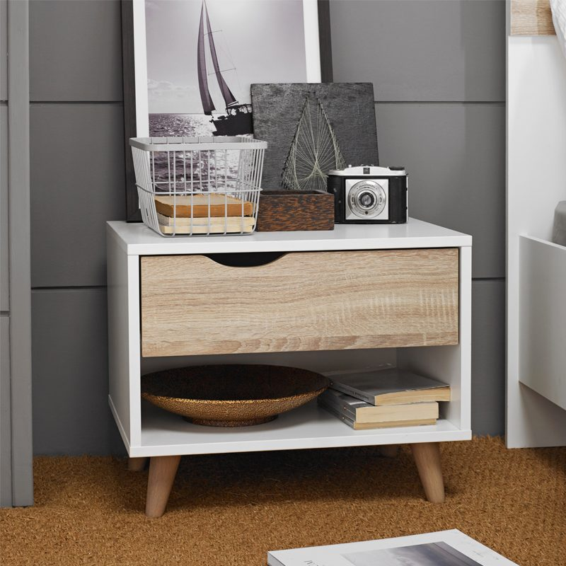 Single drawer white oak bedside table
