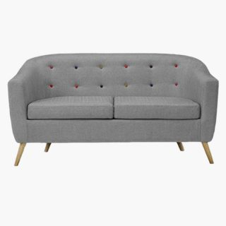 Hudson Sofa With Coloured Buttons – Grey