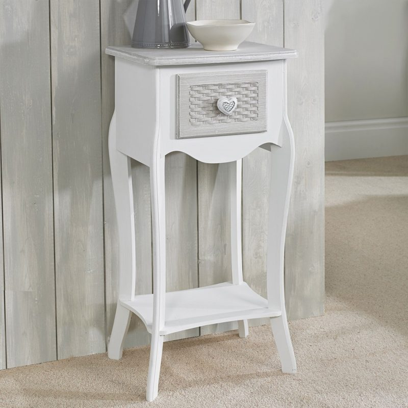 White shabby chic bedside cabinet with 1 drawer