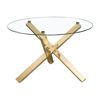 Carey Glass Dining Table with Gold Legs