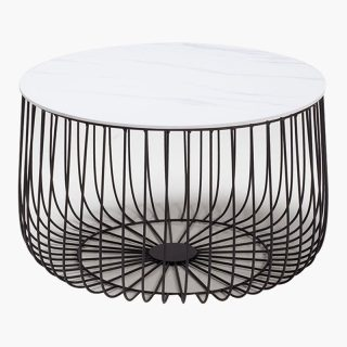 Enzo – Large Cage Table Marble/Black