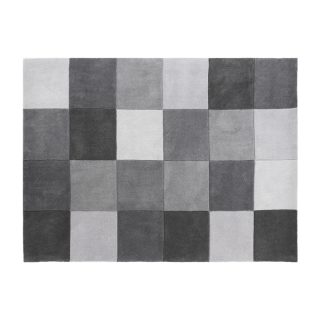 Eternity Square Pattern Rug Grey 160 x 230