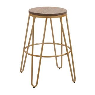 Iconic Hairpin Leg Bar Stool, Gold & Wood