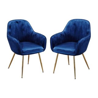 Set of 2 Leela Dining Chairs, Royal Blue Velvet