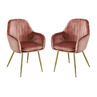 Set of 2 Leela Dining Chairs, Vintage Pink Velvet